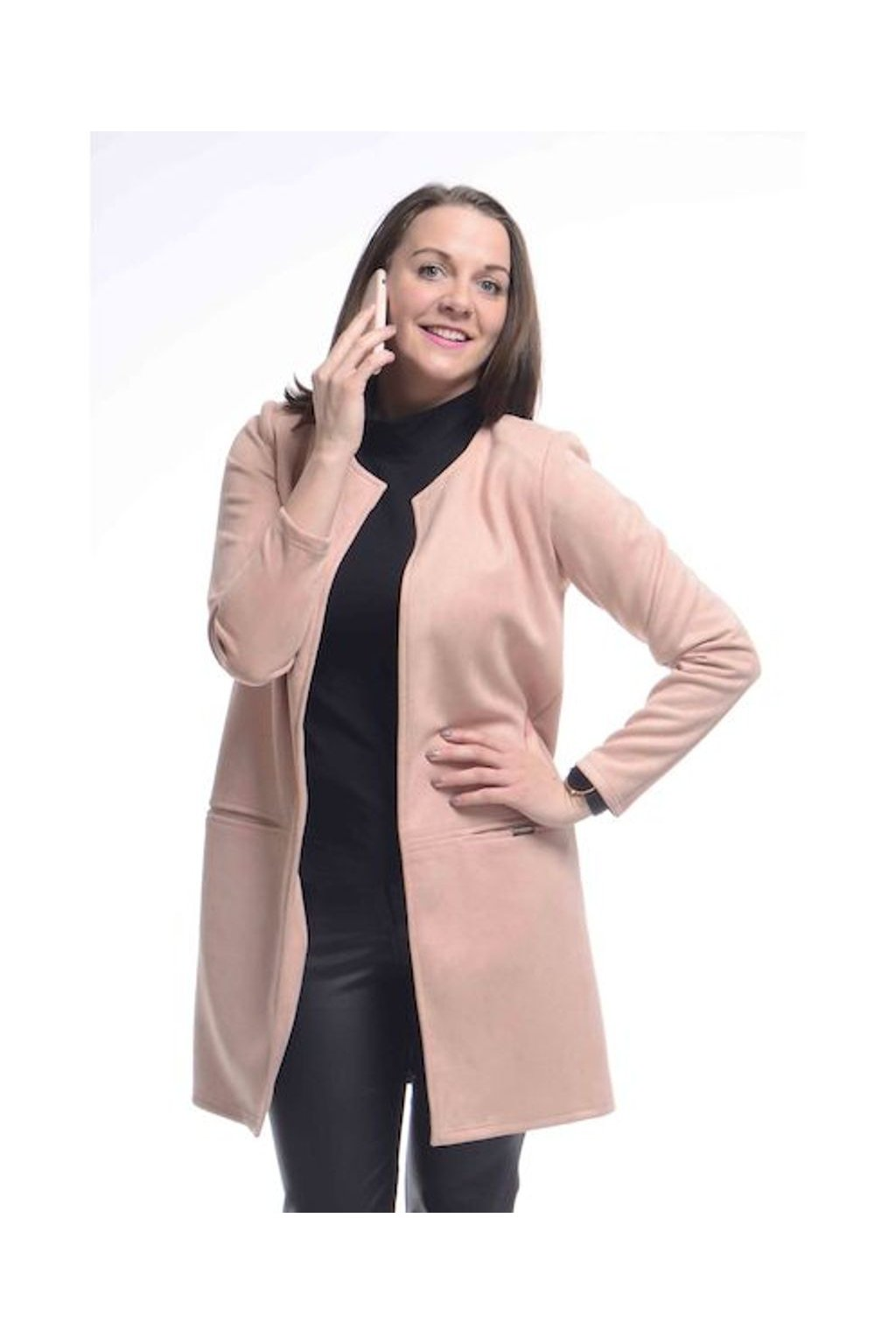 0921 Kabátek Línie (Velikost 36, Barva Růžová)