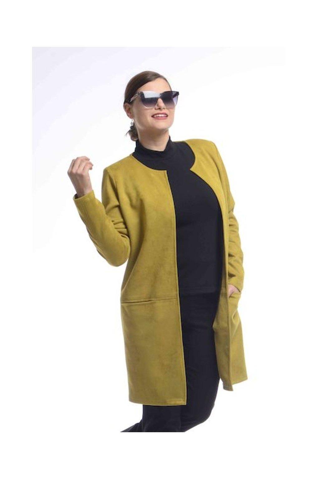 0921 Kabátek Línie (Velikost 36, Barva Zelená)