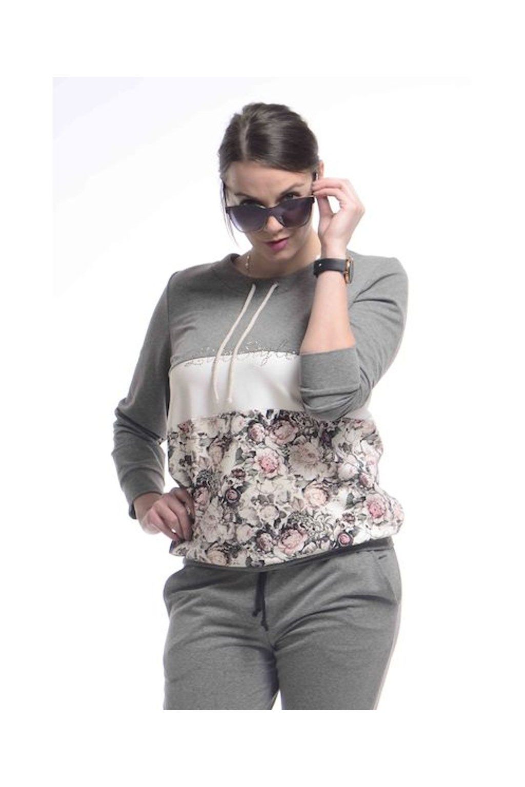 0721 Mikina Style (Velikost 36, Barva Šedá)