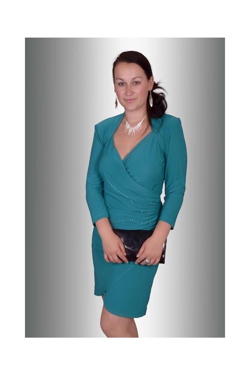 13614 Šaty spol. řasený bok (Velikost 38, Barva Zelená)
