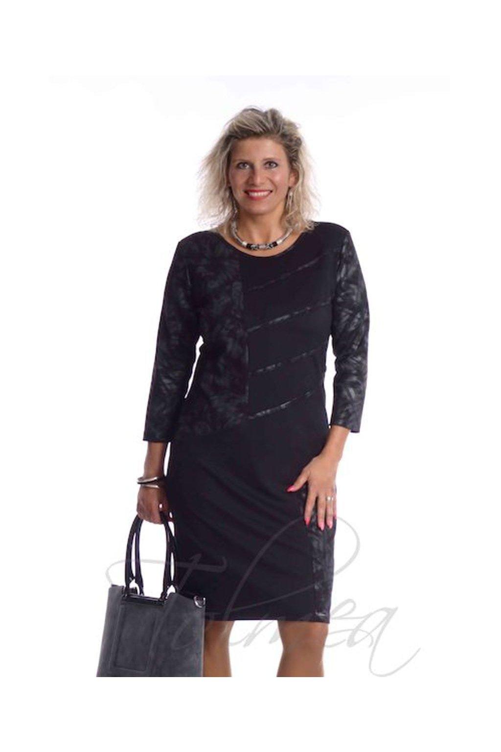 Šaty společenské paspule 9918 (Velikost 36, Barva Šedá tmavá)