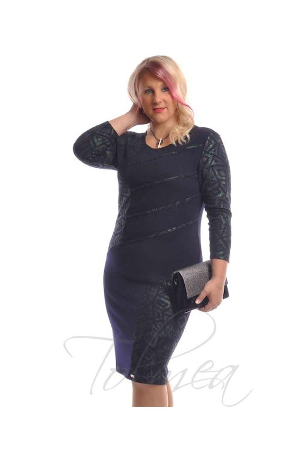 Šaty společenské paspule 9918 (Velikost 36, Barva Modrá)