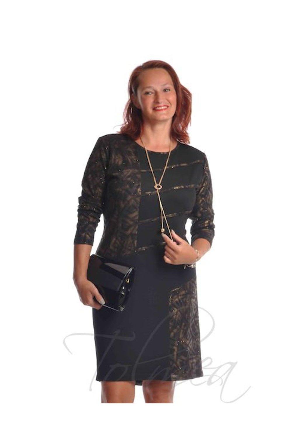 Šaty společenské paspule 9918 (Velikost 36, Barva Bronzová)