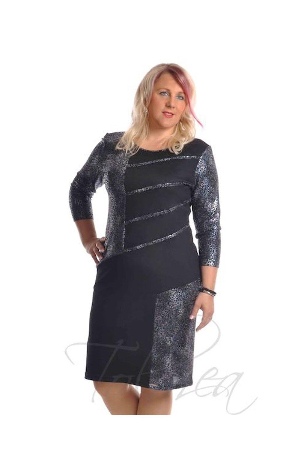 Šaty společenské paspule 9918 (Velikost 36, Barva Vzorovaná)