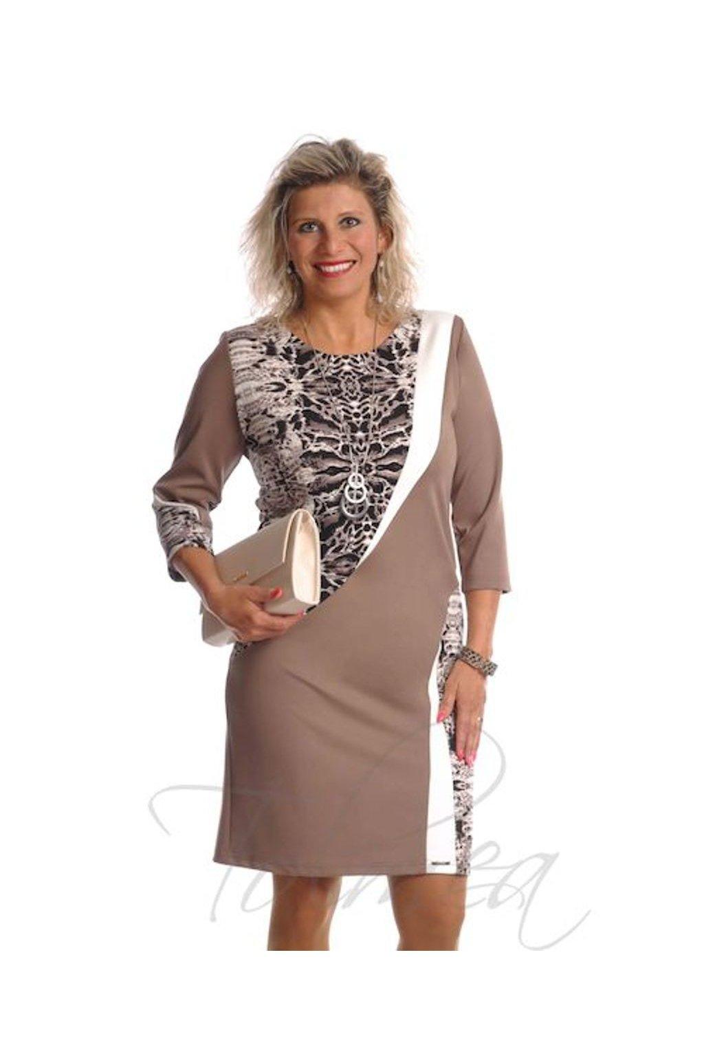 Šaty členěné šerpa 6918 (Velikost 36, Barva Hnědá)