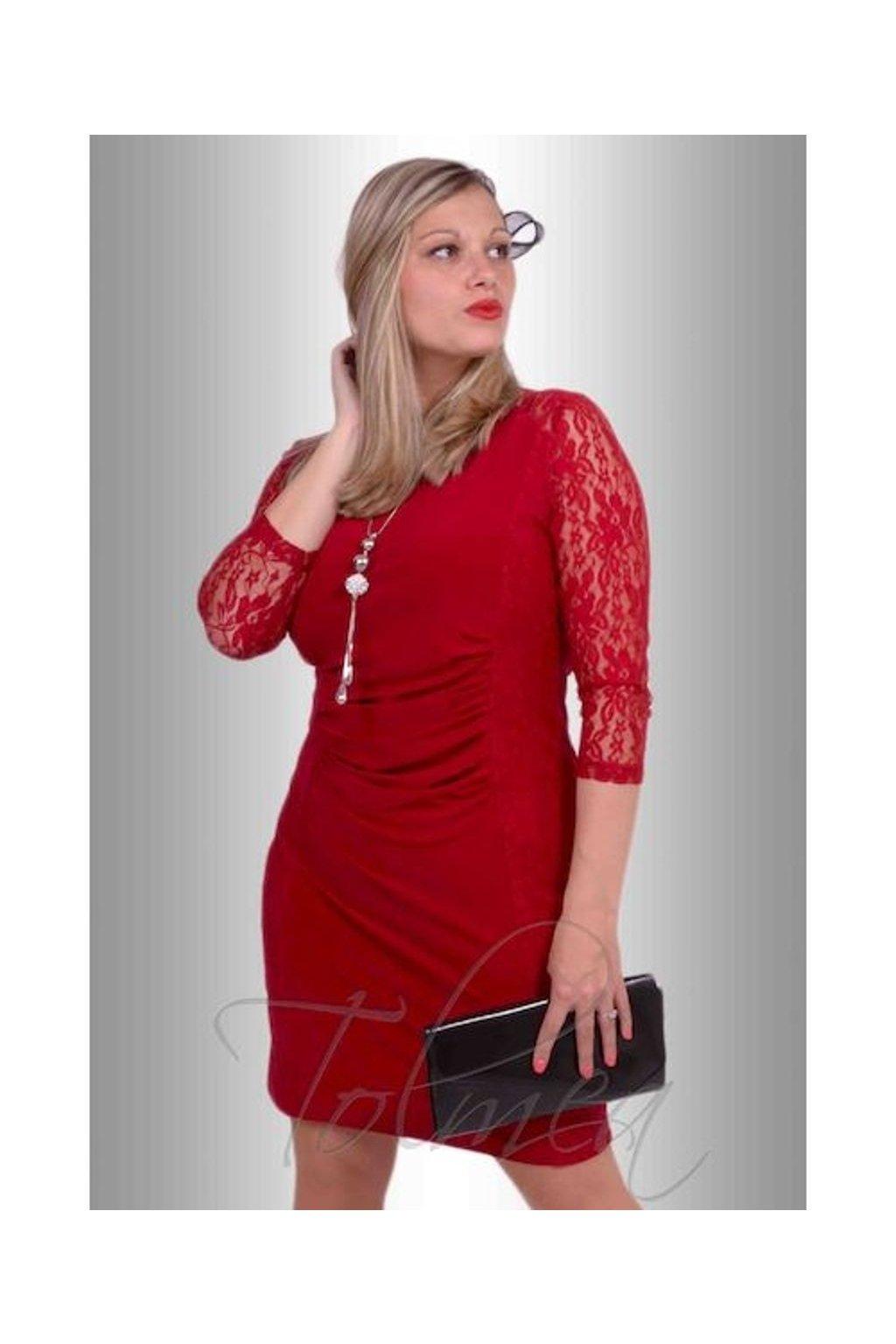 Šaty krajka řasené 7715 (Velikost 36, Barva Černá)