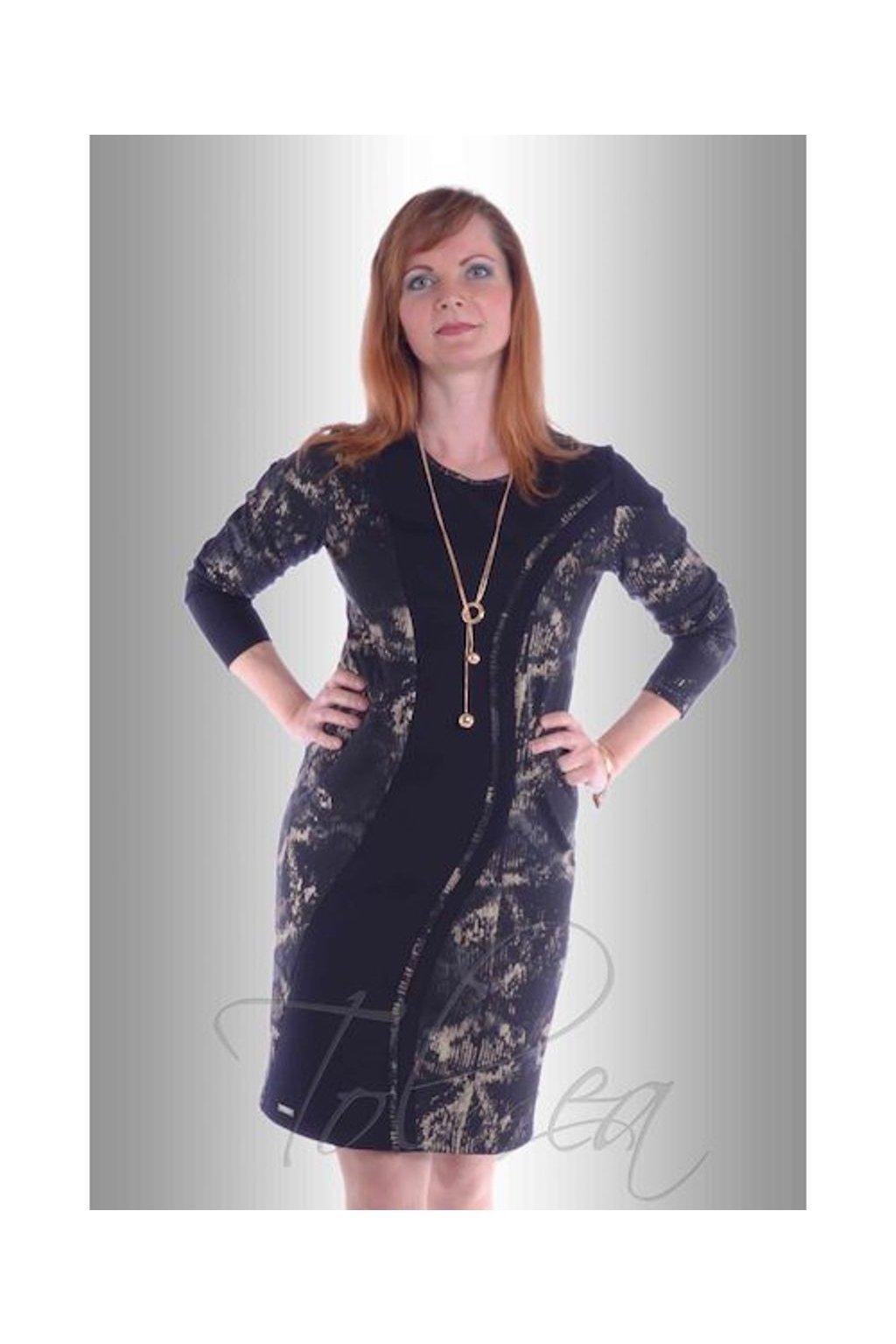 Šaty vlna paspule 5517 (Velikost 36, Barva Vzorovaná)