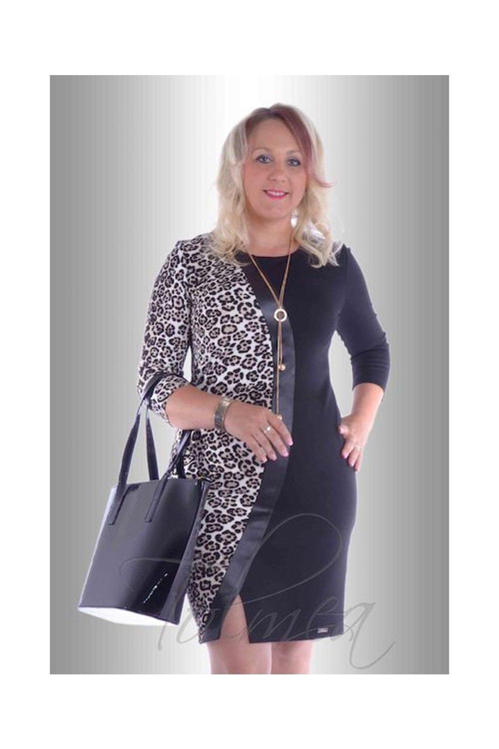 Šaty vlna s koženkou 5717 (Velikost 36, Barva Vzorovaná)