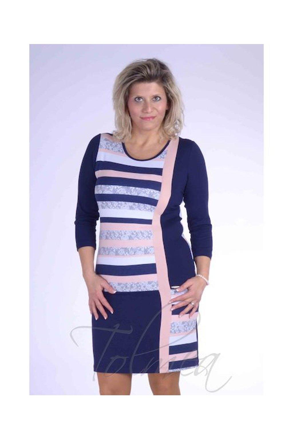 Šaty proužky členěné 2218 (Velikost 36, Barva Vzorovaná)