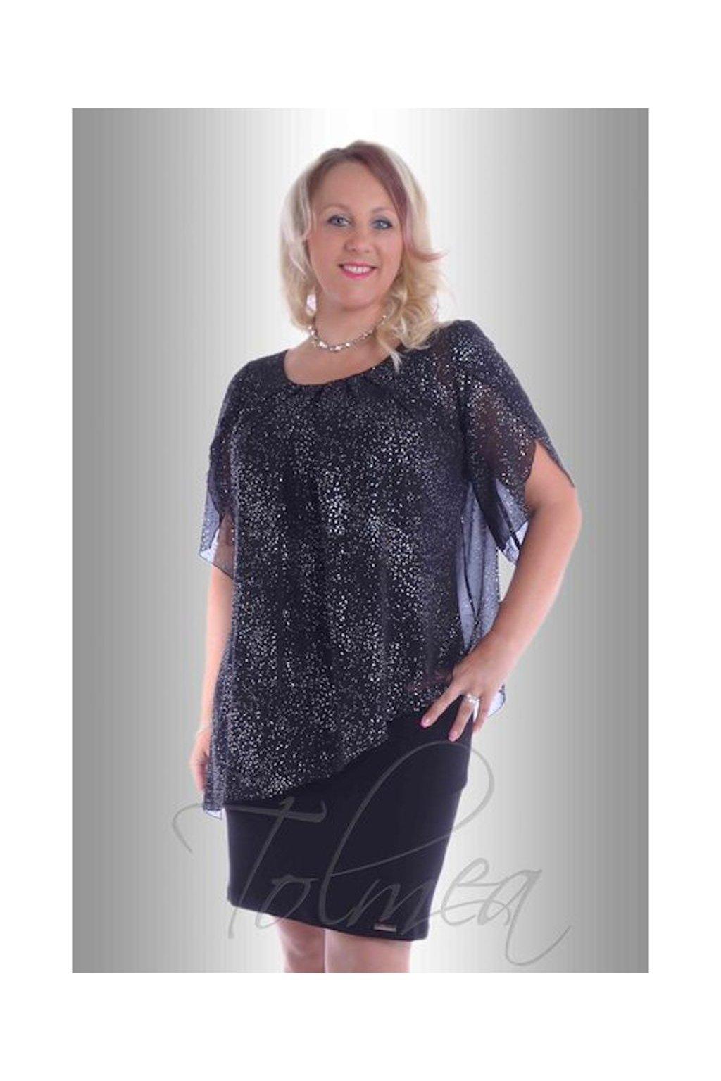 Šaty společenské volné šifon 8517 (Velikost 38, Barva Černá)