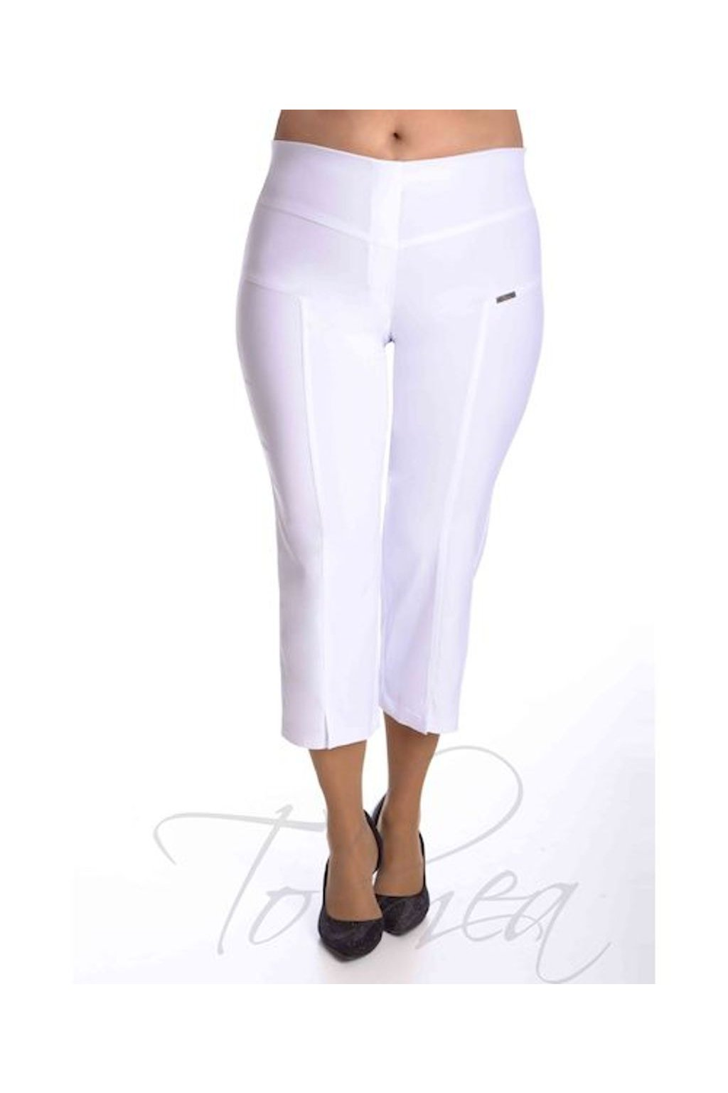 53T Kalhoty elastické tříčtvrteční rozparek (Velikost 38, Barva Tyrkysová)