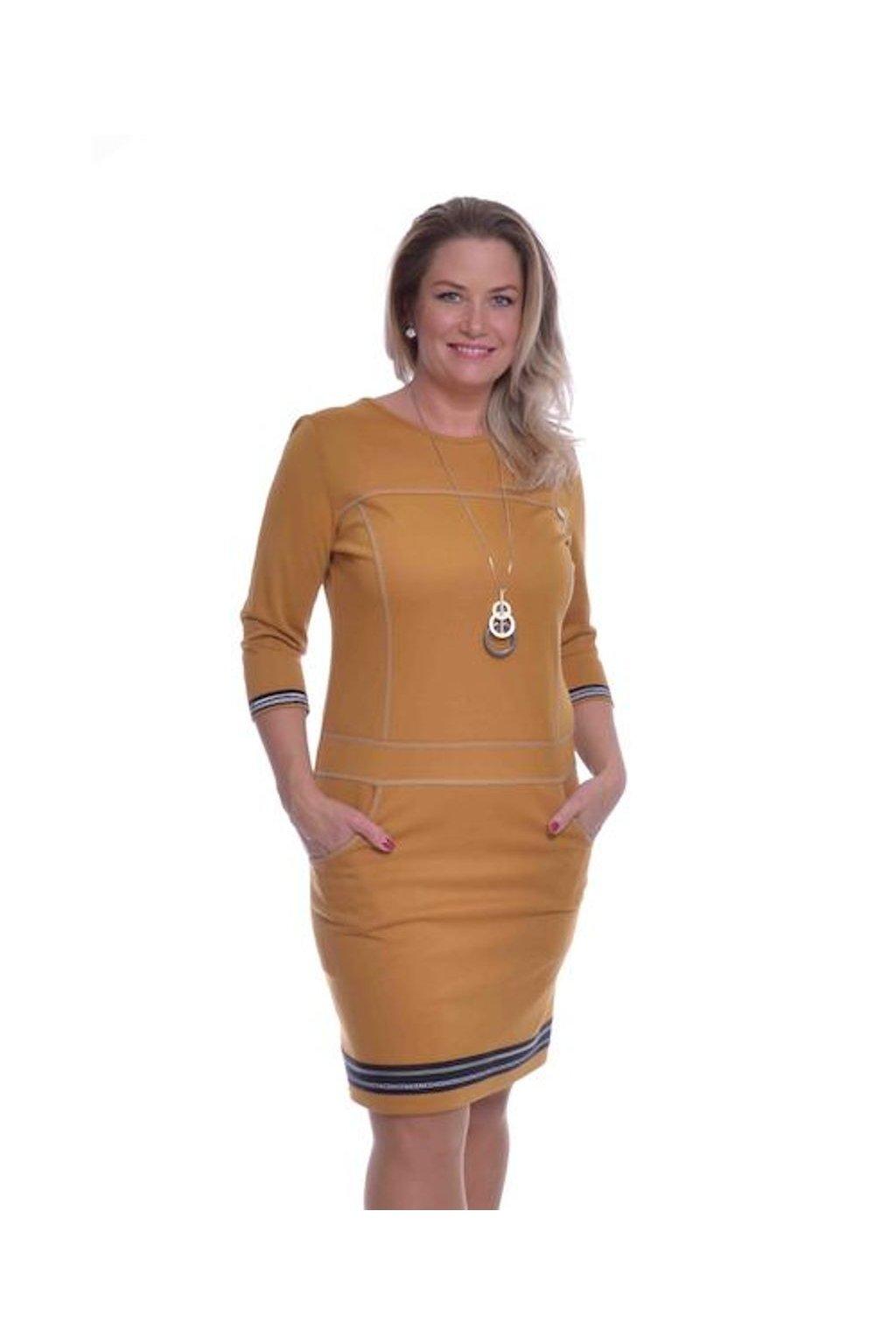 1320 Šaty prošívané stuha (Velikost 36, Barva Žlutá)