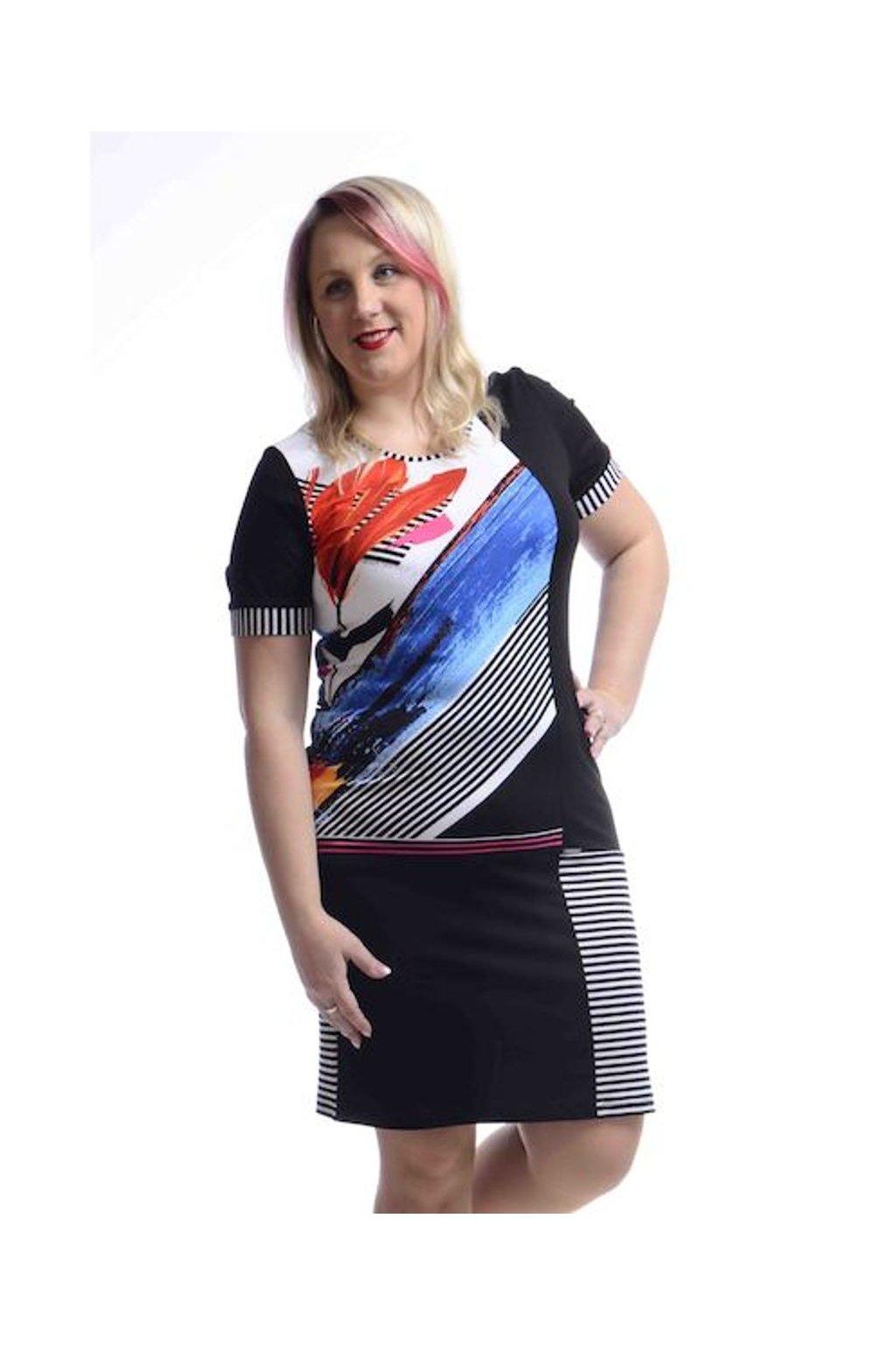 5320 Šaty proužek lemy (Velikost 36, Barva Vzorovaná)