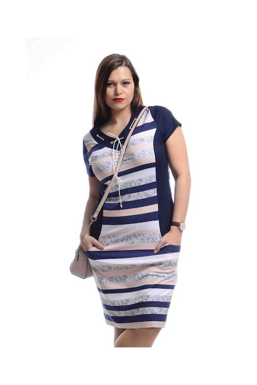 5420 Šaty šněrování (Velikost 36, Barva Vzorovaná)