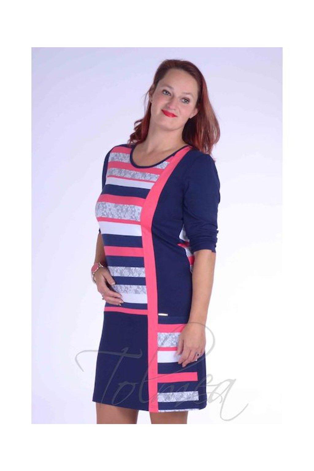 Šaty proužky členěné 2118 (Velikost 36, Barva Vzorovaná)