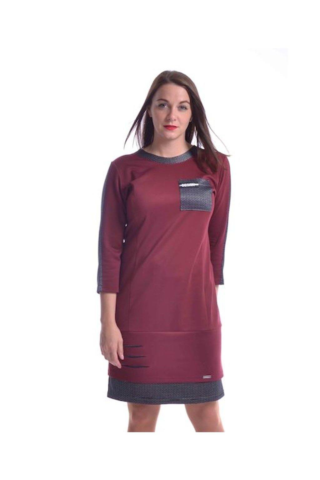 8620 Šaty Design (Velikost 36, Barva Vínová)