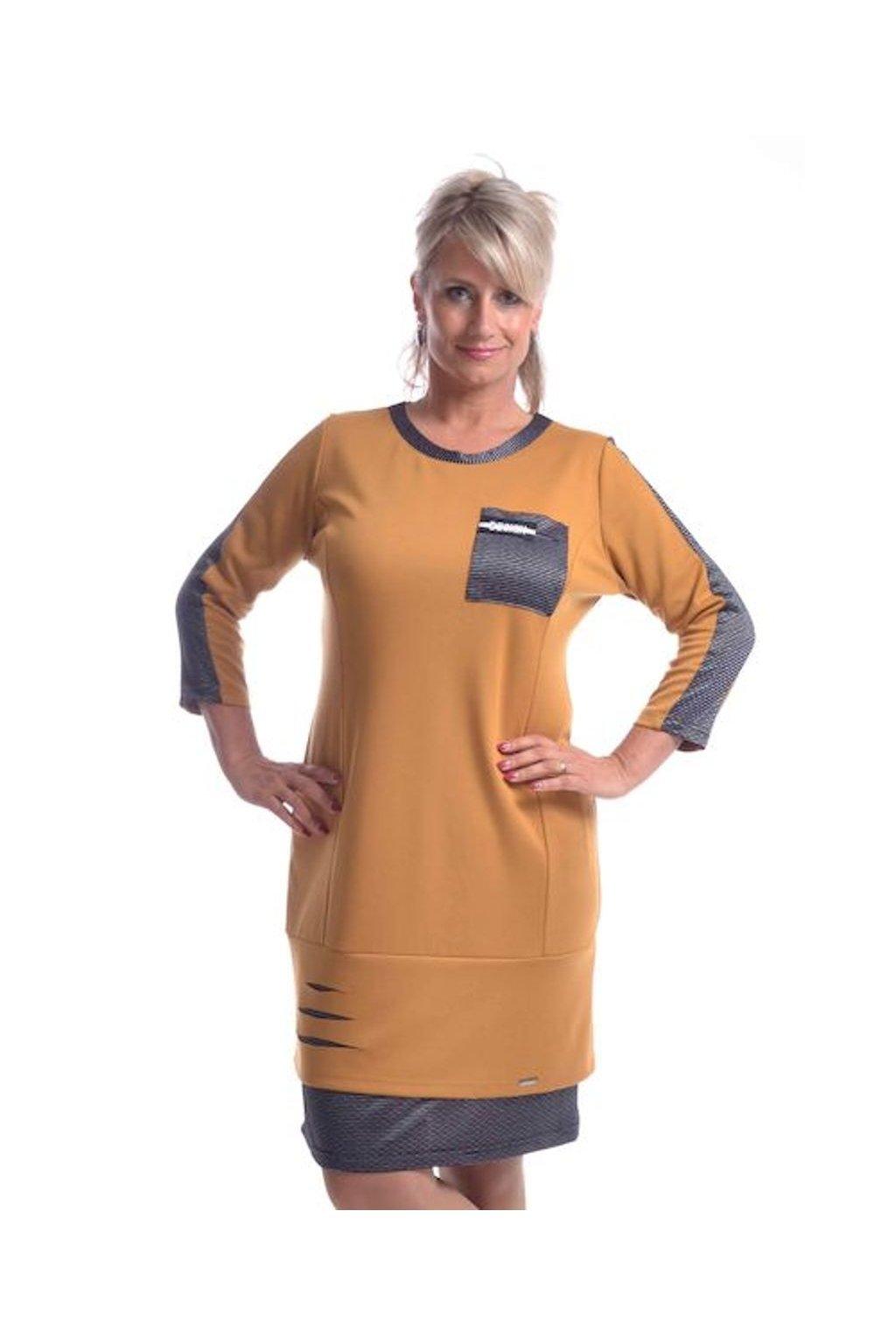 8620 Šaty Design (Velikost 36, Barva Hořčicová)