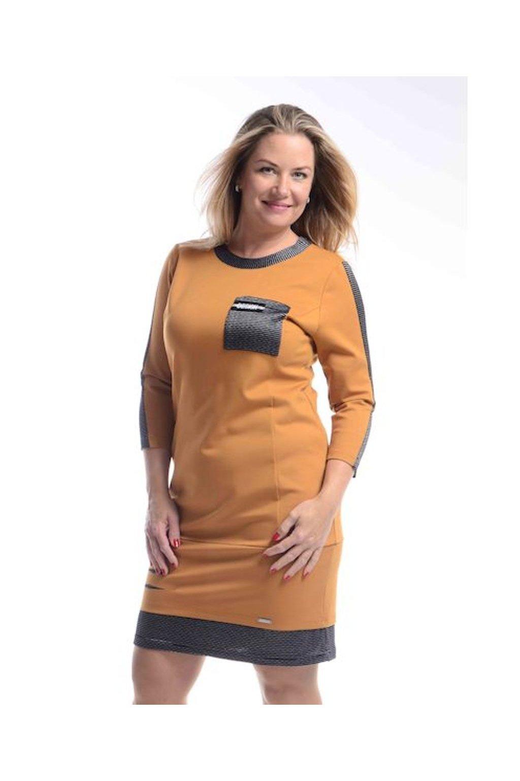 8620 Šaty Design (Velikost 36, Barva Cihlová)