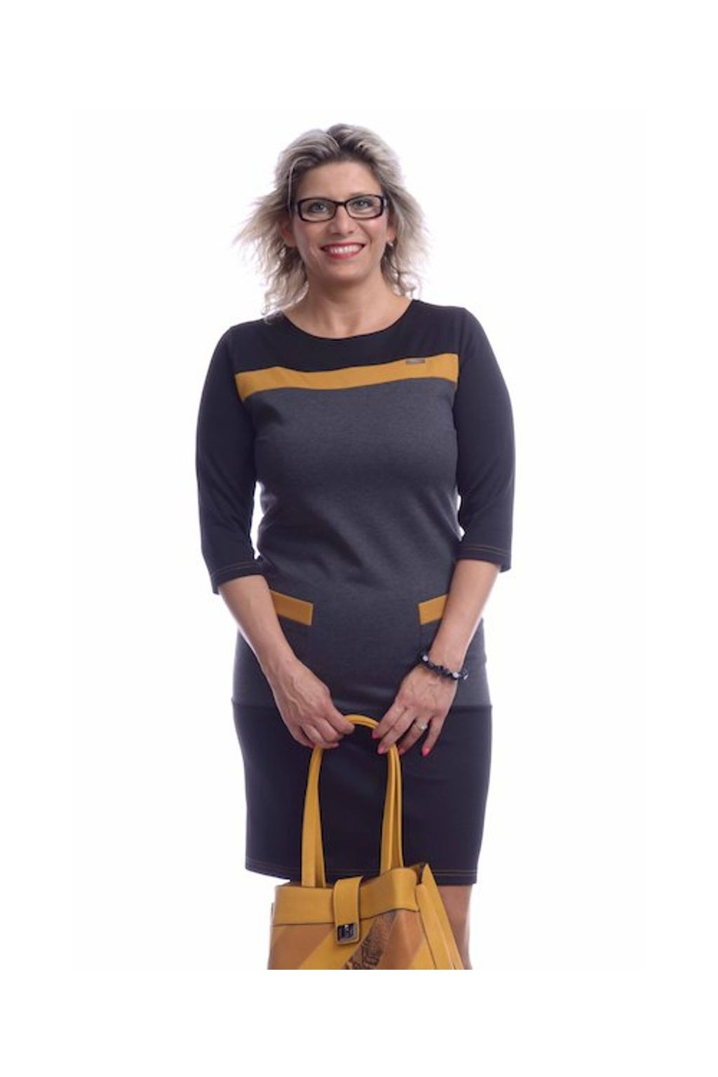 8719 Šaty barevné pásky (Velikost 36, Barva Žlutá)