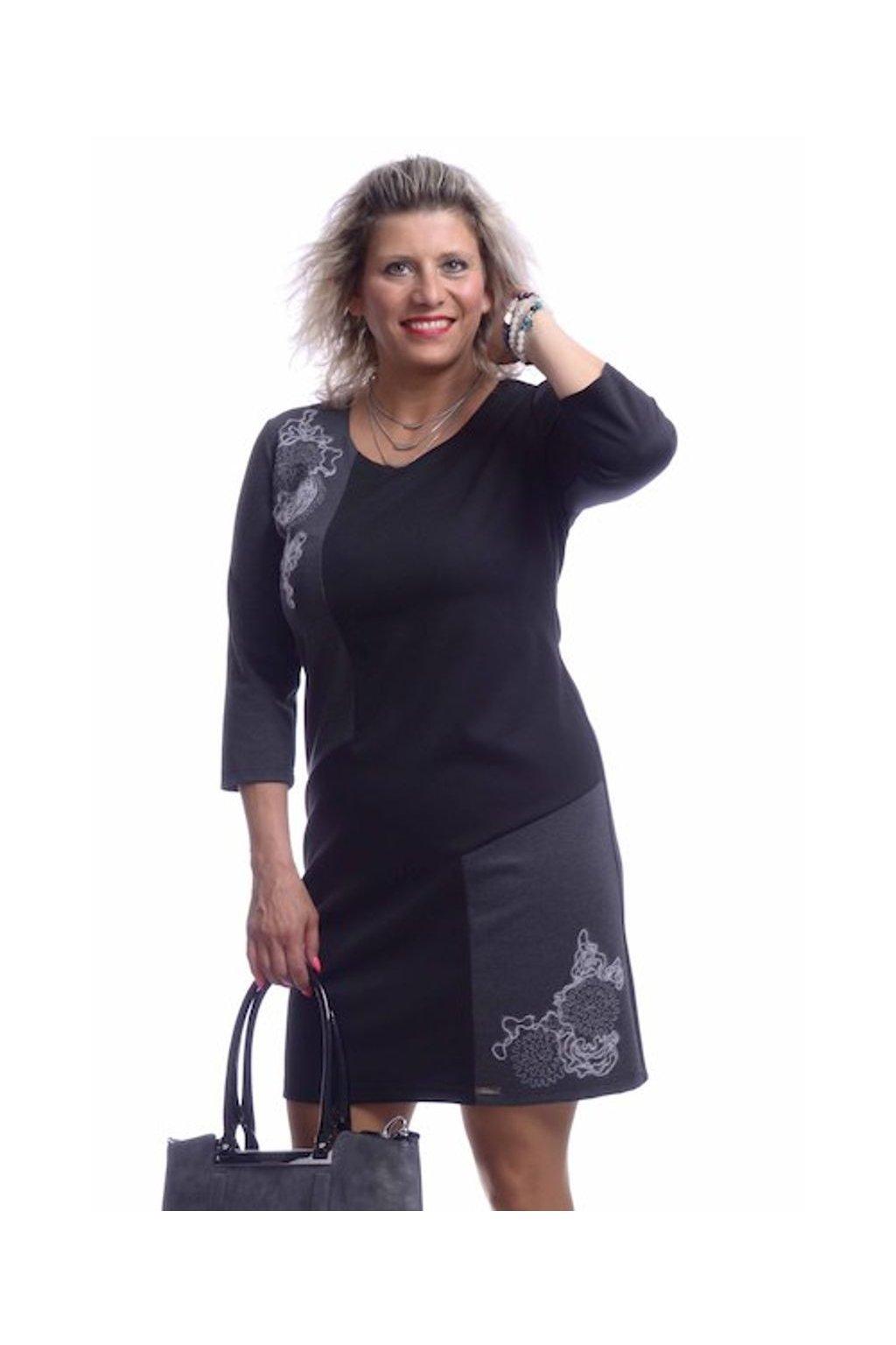 8519 Šaty výšivka (Velikost 36, Barva Černá)