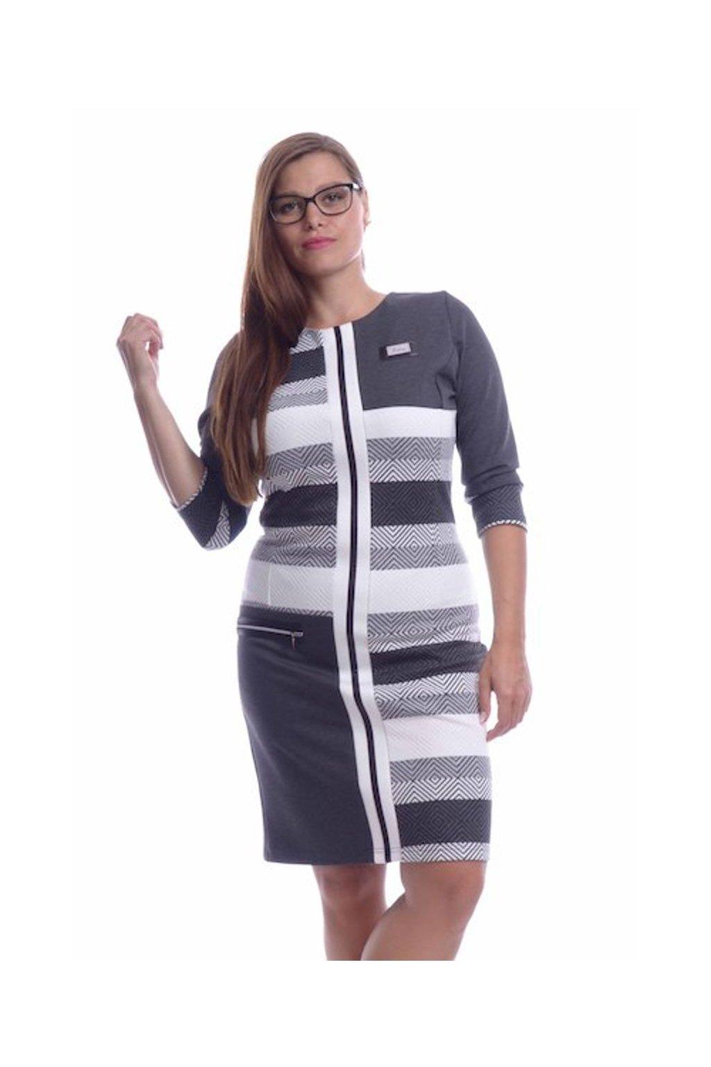 8319 Šaty střed koženka (Velikost 36, Barva Vzorovaná)