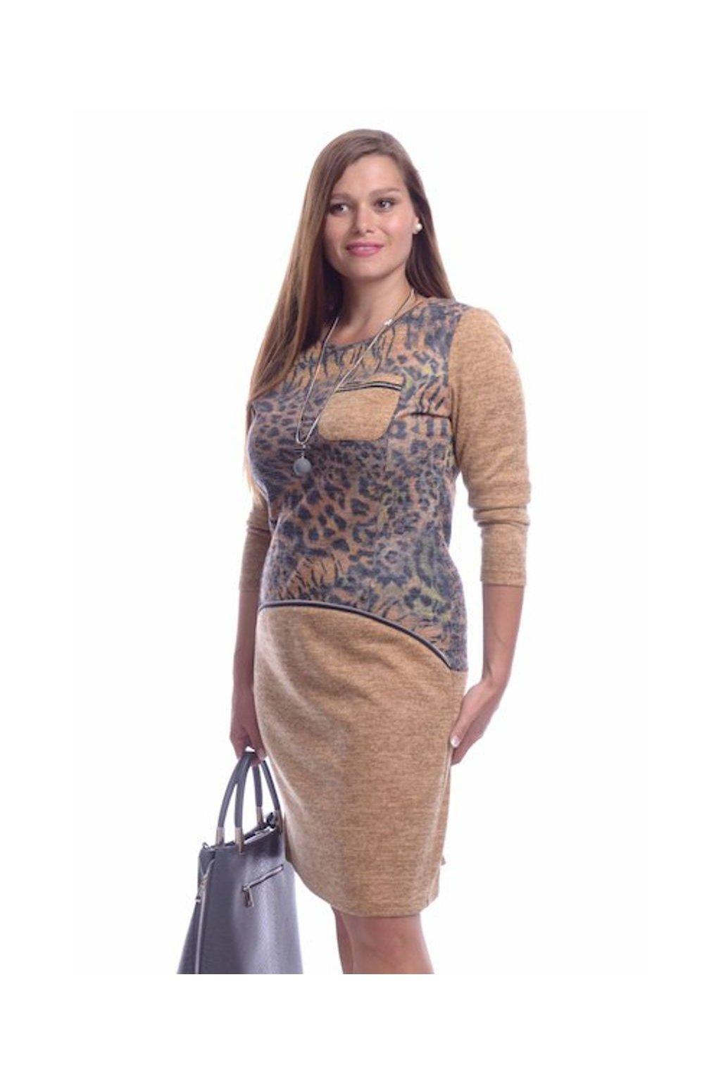 8219 Šaty svetrovina zip (Velikost 36, Barva Vzorovaná)