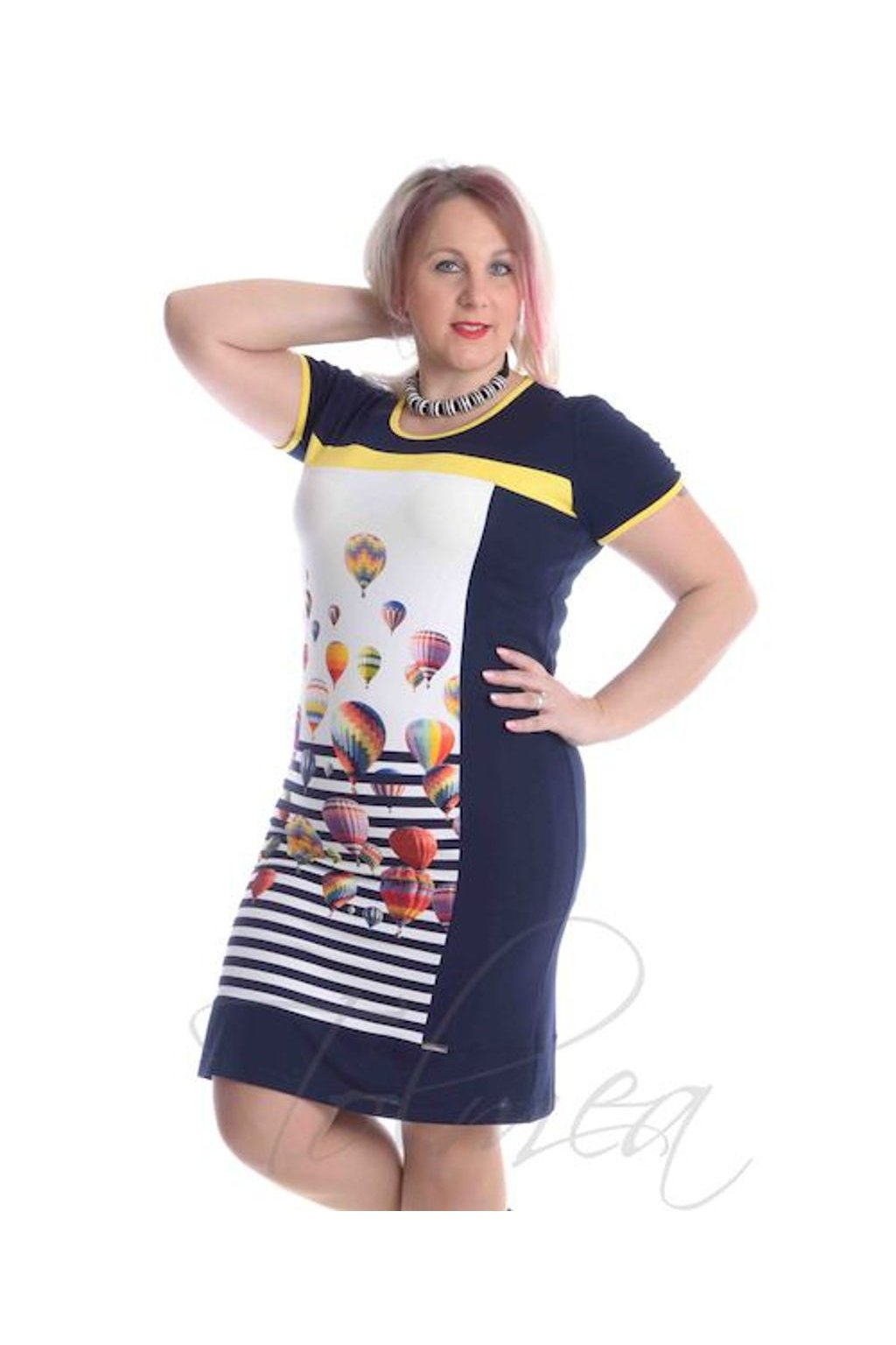 4819 Šaty obraz (Velikost 36, Barva Žlutá)