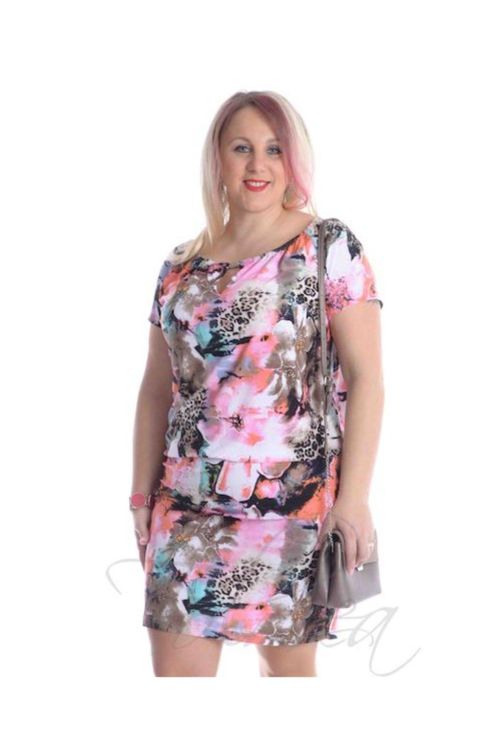 5219 Šaty raglán podkas (Velikost 36, Barva Vzorovaná)