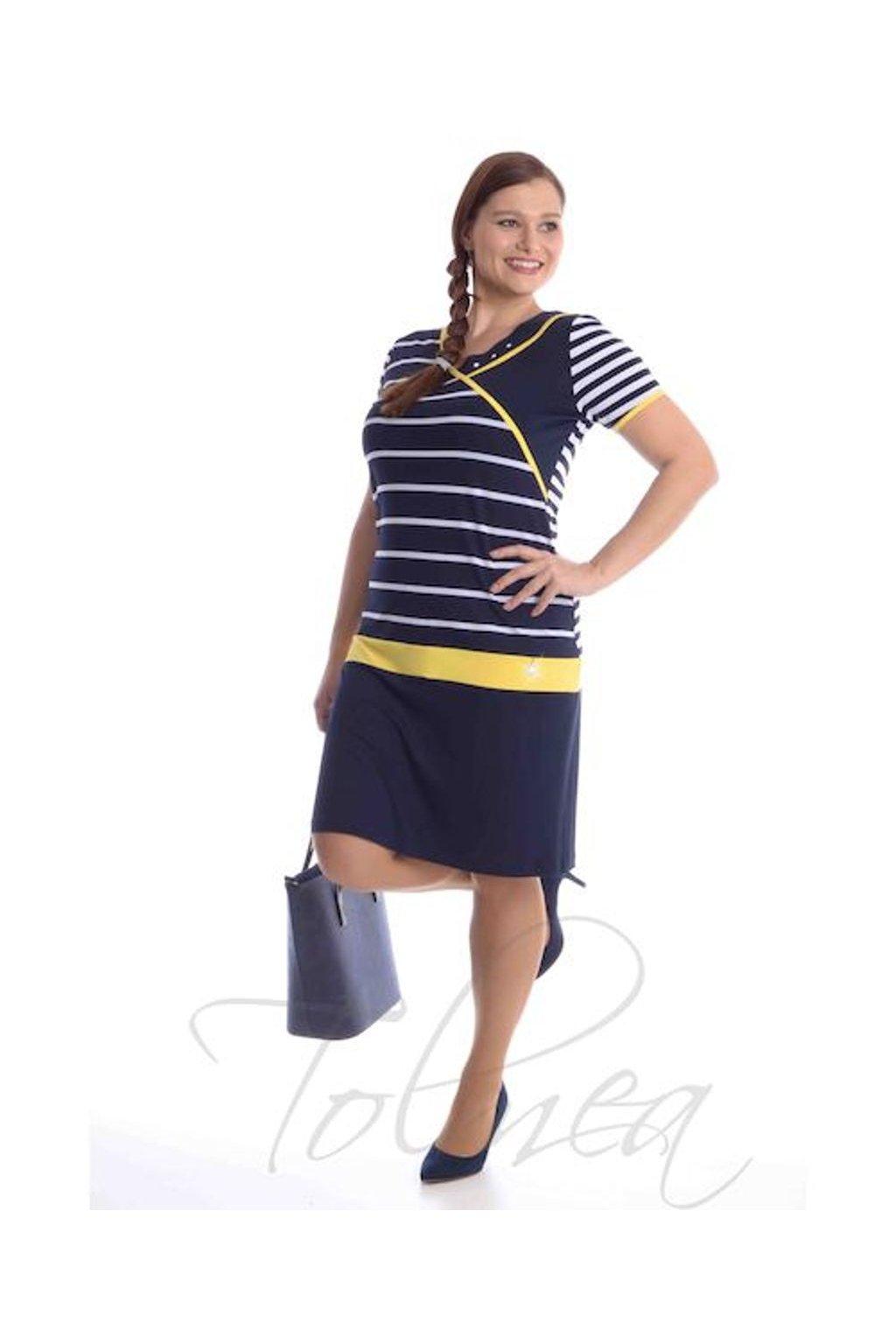 5319 Šaty proužek barevné lemy (Velikost 36, Barva Žlutá)