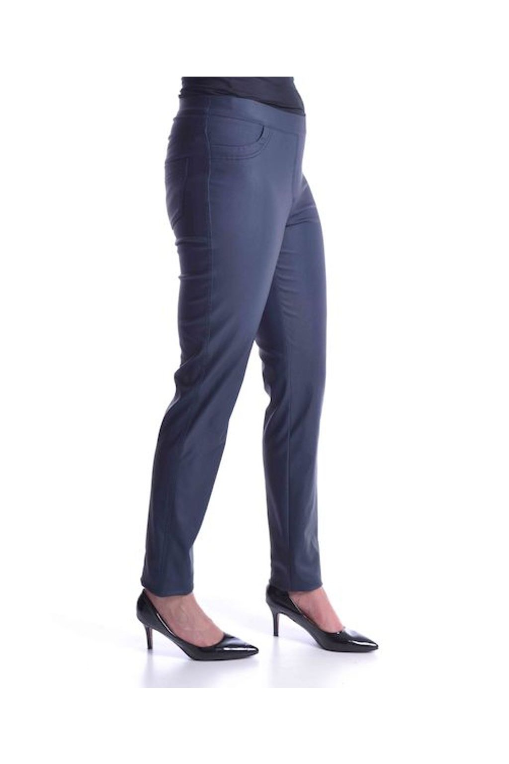 64T Kalhoty koženka (Velikost 36, Barva Modrá)