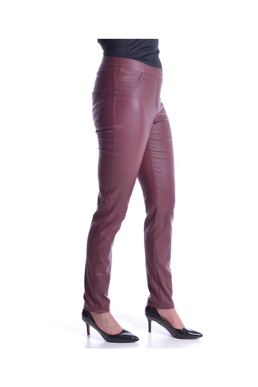 64T Kalhoty koženka (Velikost 36, Barva Vínová)