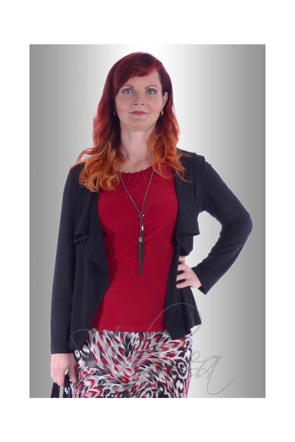 P0518 Kabátek polyester cípky (Velikost 38, Barva Černá)