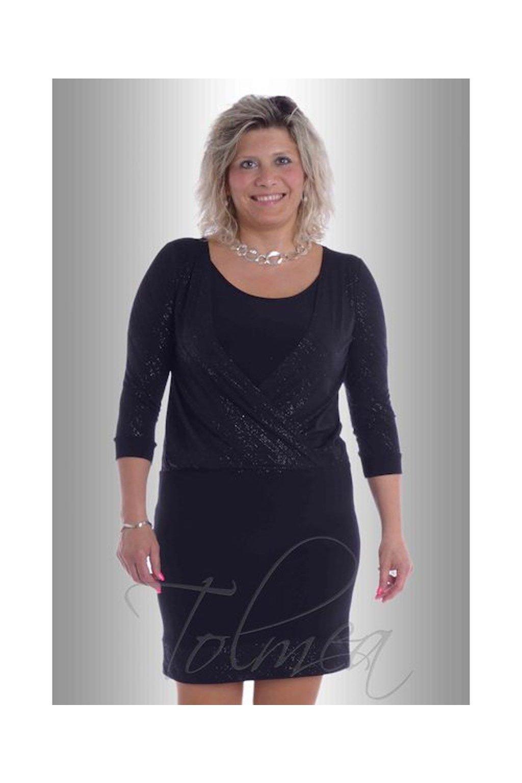 Šaty společenské překřížené 8617 (Velikost 38, Barva Černá)