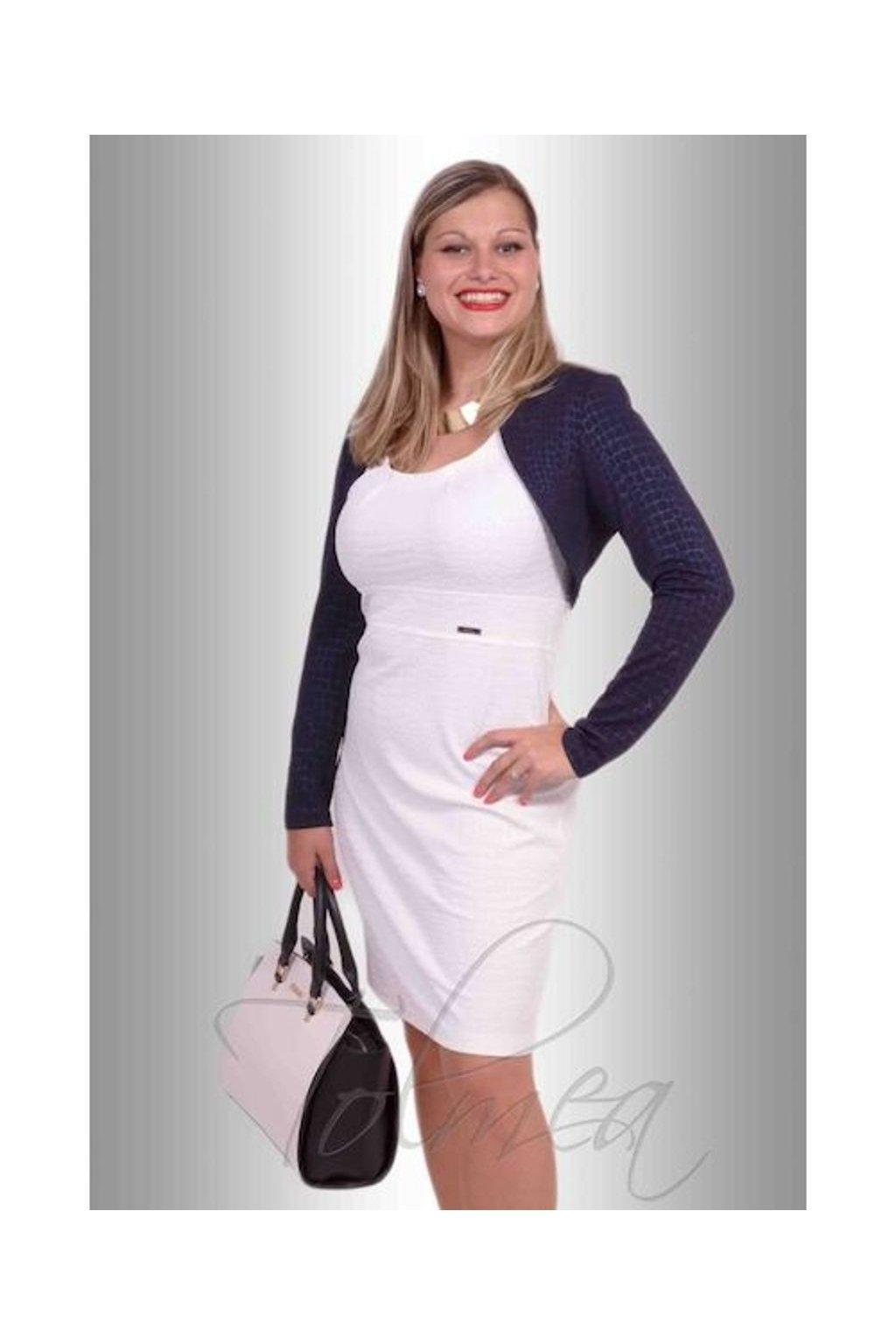 Šaty a bolerko Ricky KS0415v5 (Velikost 36, Barva Bílá)