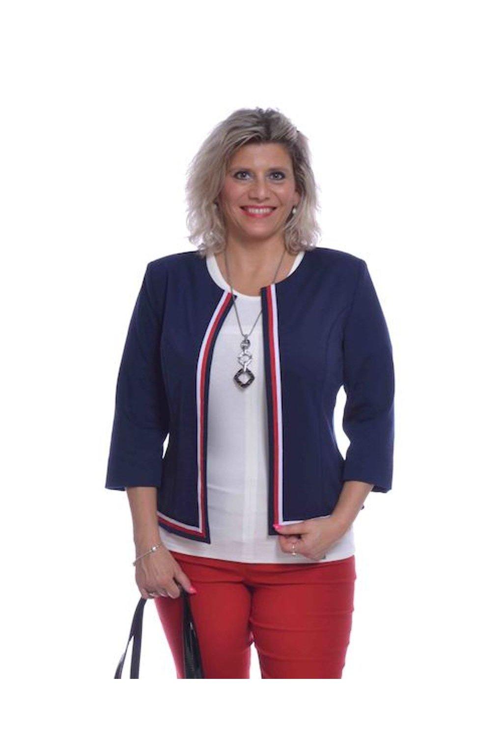 0620 Kabátek stuha (Velikost 36, Barva Modrá)