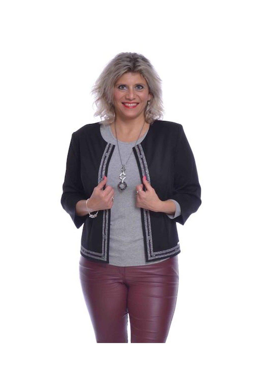 0620 Kabátek stuha (Velikost 36, Barva Černá)