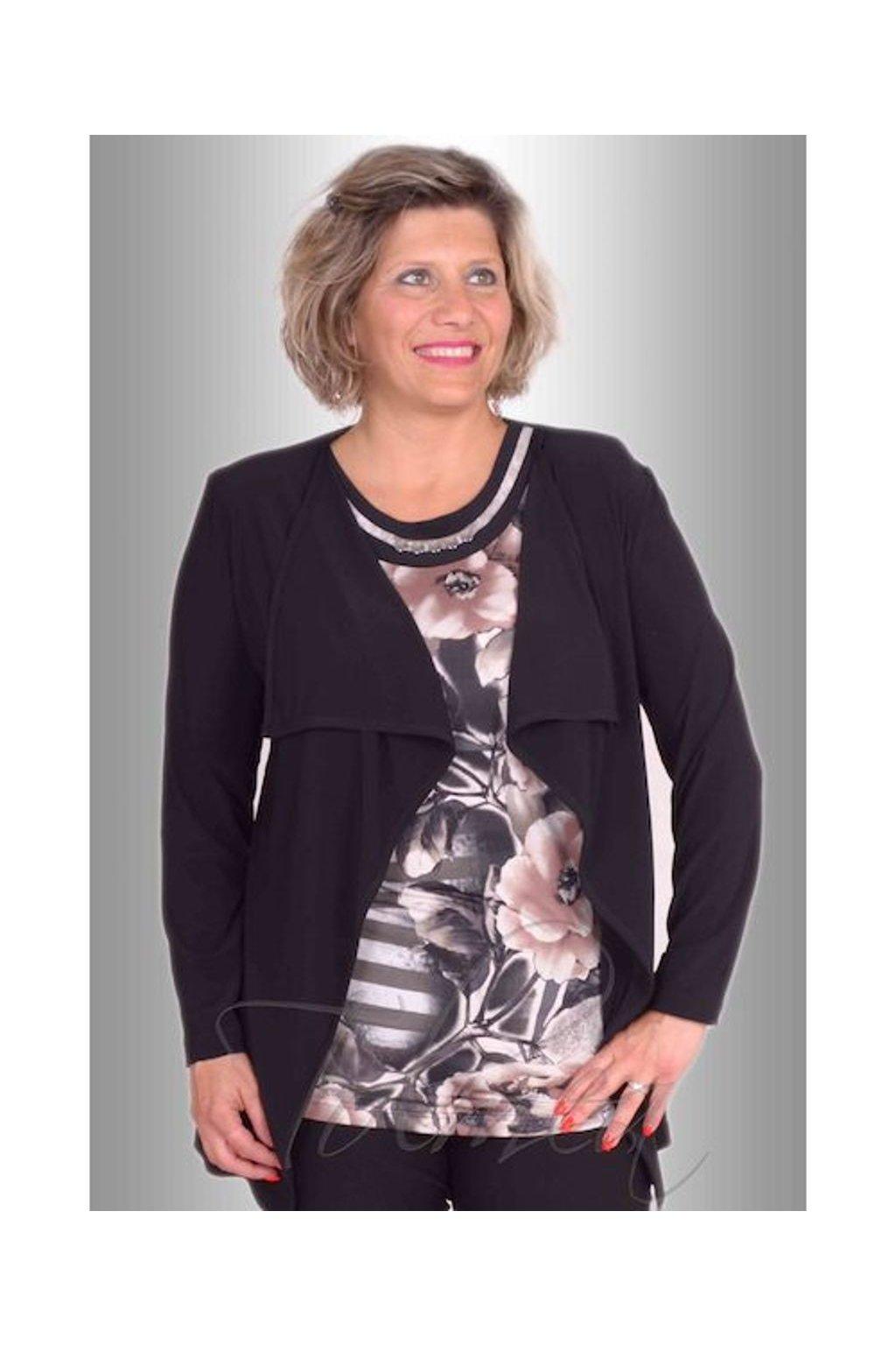 Kabátek polyester cípy 8916 (Velikost 40, Barva Černá)