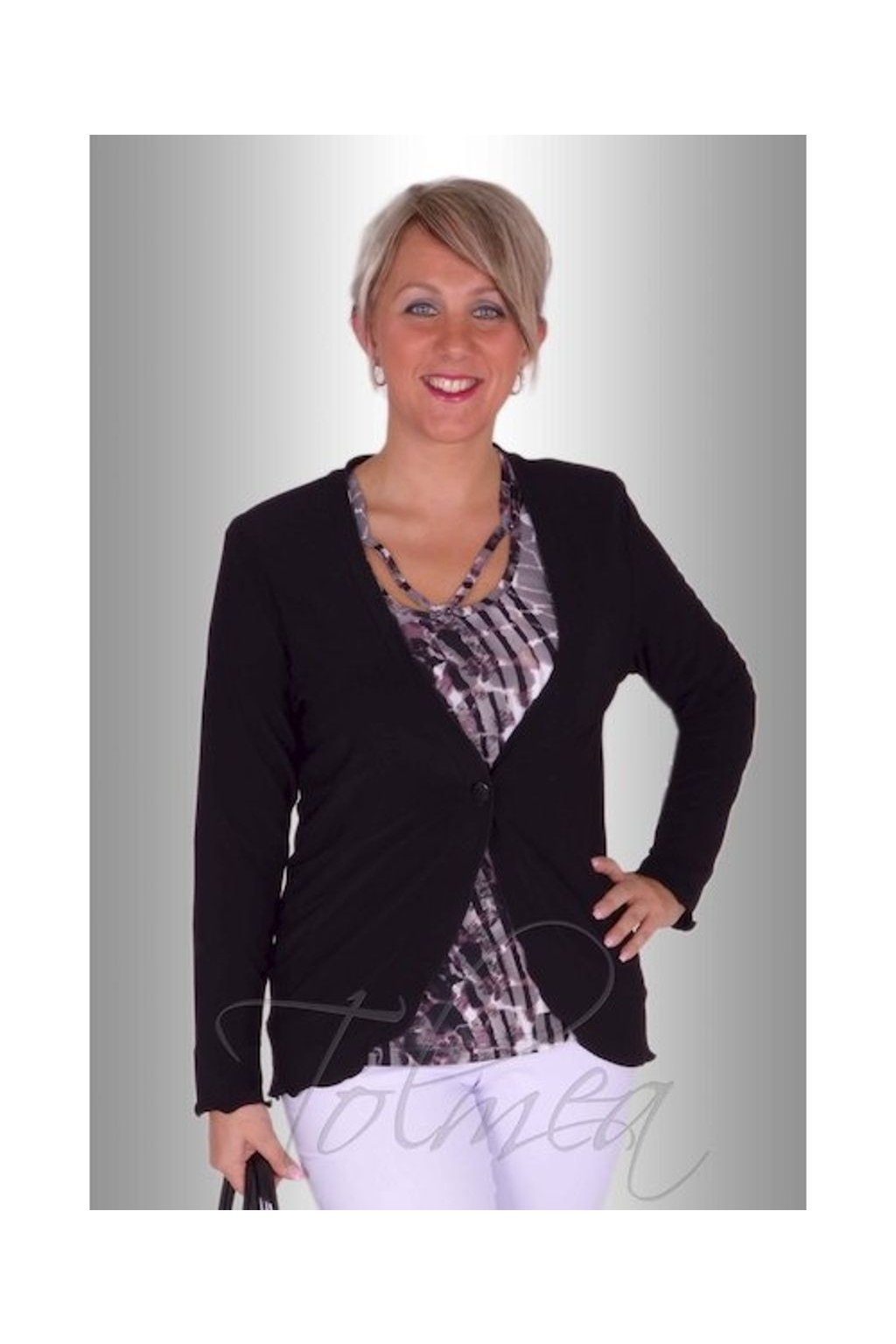 Kabátek polyester P0416 (Velikost 36, Barva Černá)