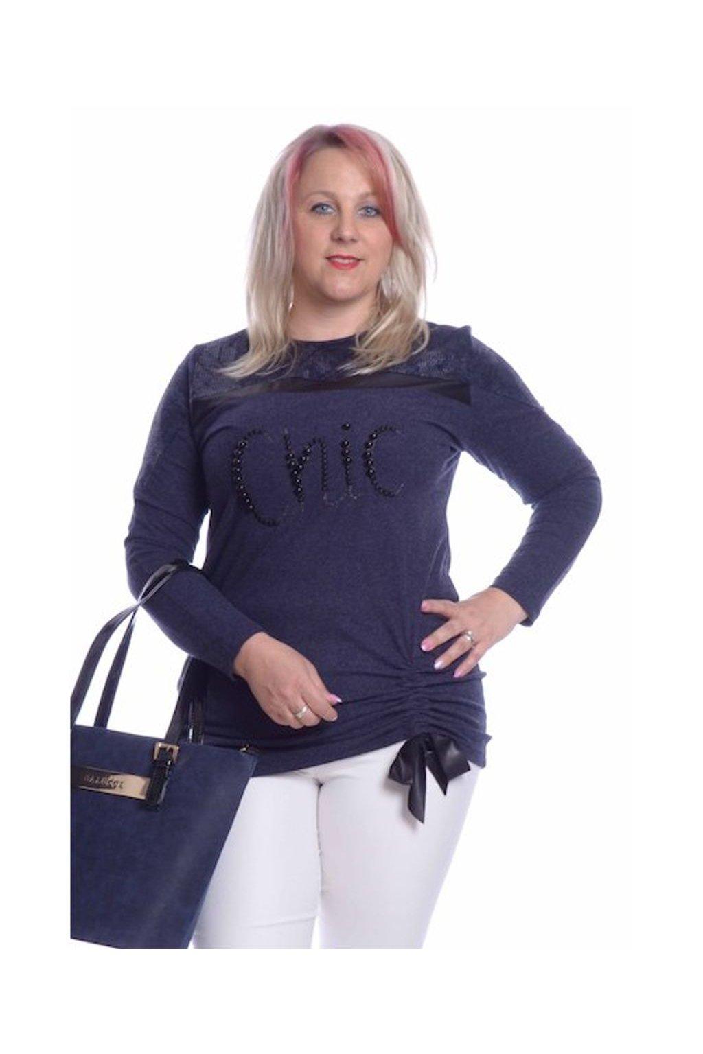 9019 Tunika Chic (Velikost 36, Barva Modrá)