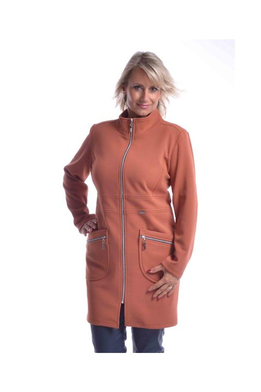 7120 Kabát Elegance (Velikost 36, Barva Cihlová)