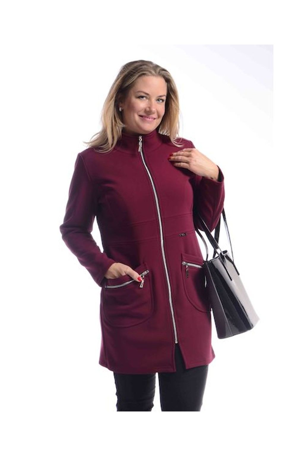 7120 Kabát Elegance (Velikost 36, Barva Vínová)