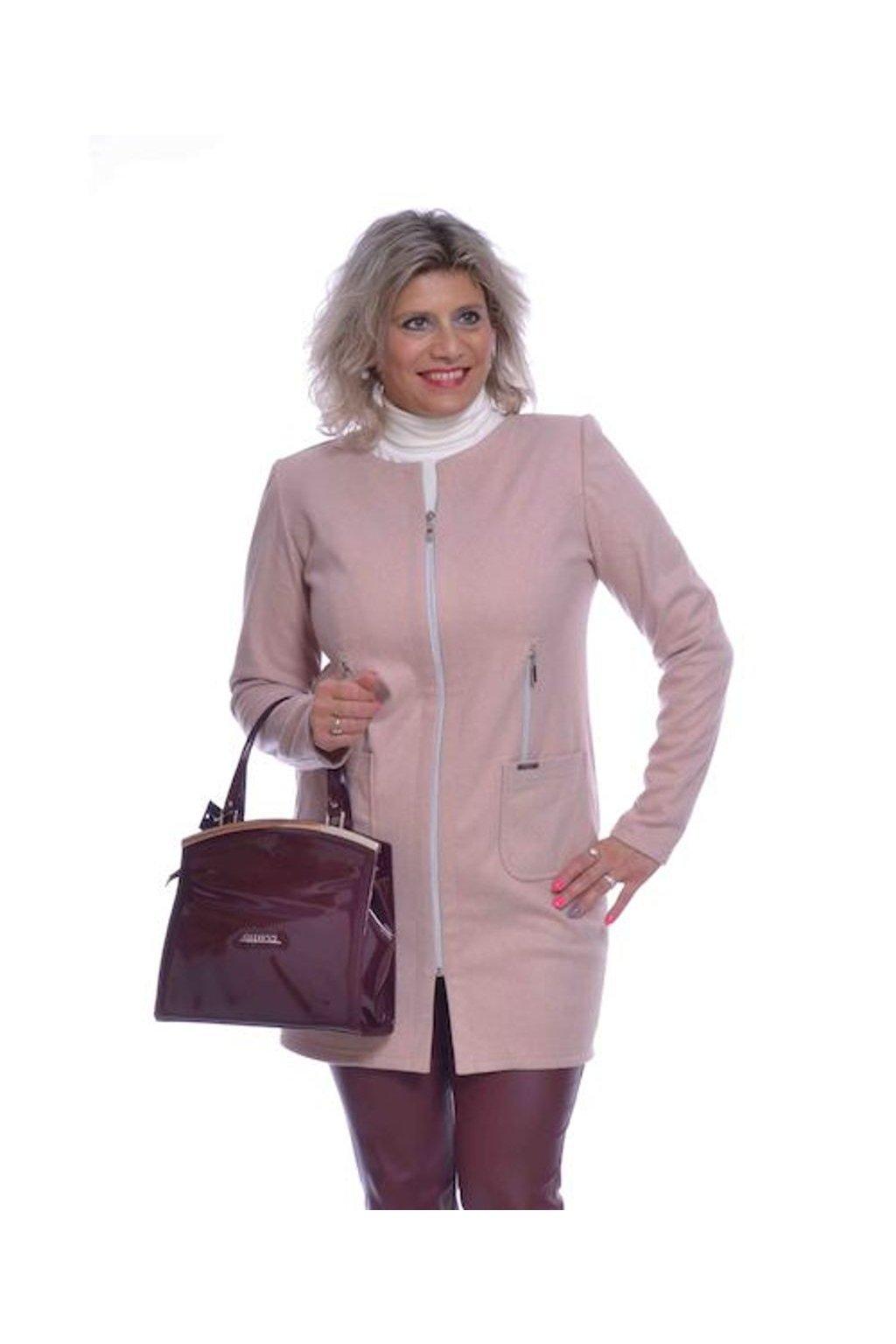 0120 Kabátek zipy (Velikost 36, Barva Růžová)
