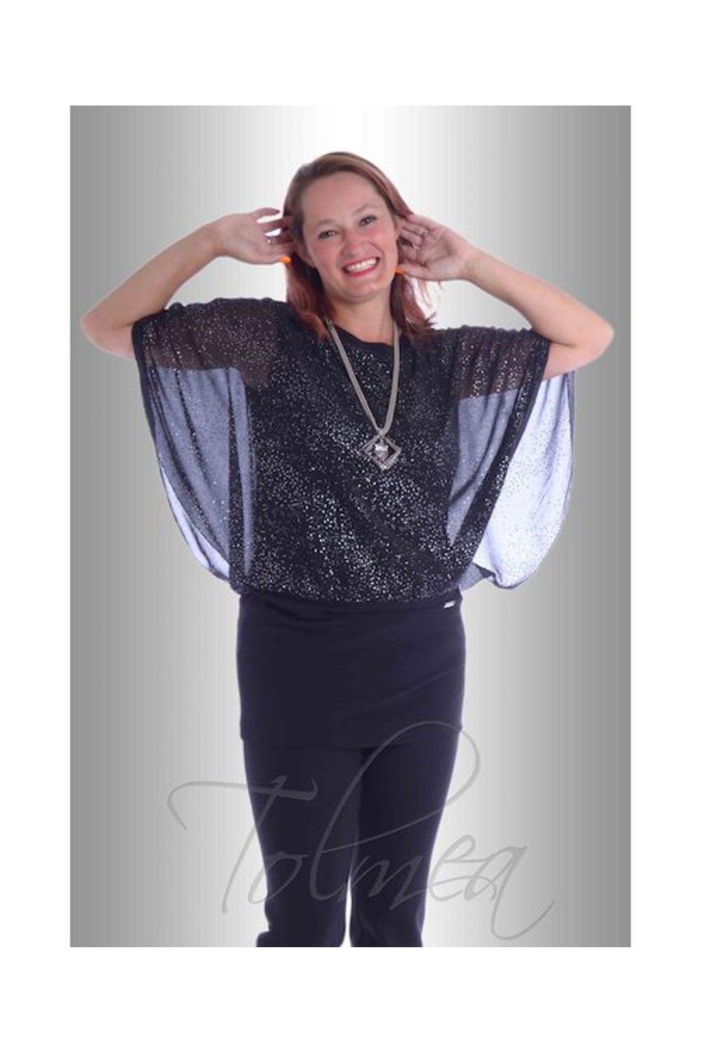 Kimono společenské volné šifon 9017 (Velikost 36, Barva Černá)