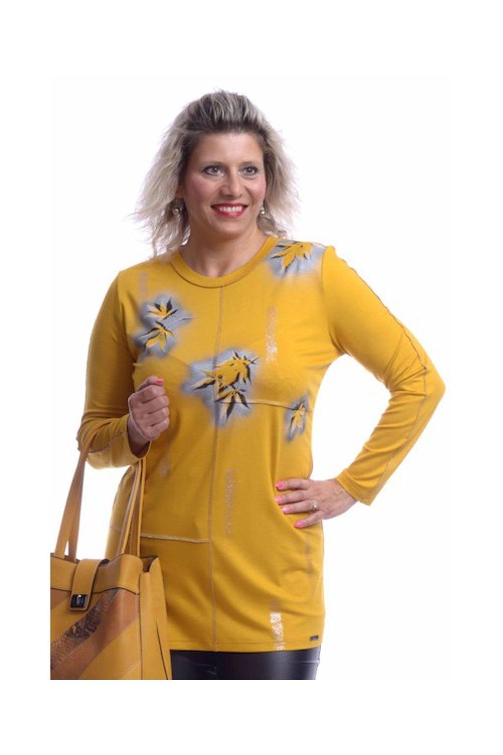 10419 Tunika střik listy (Velikost 36, Barva Žlutá)