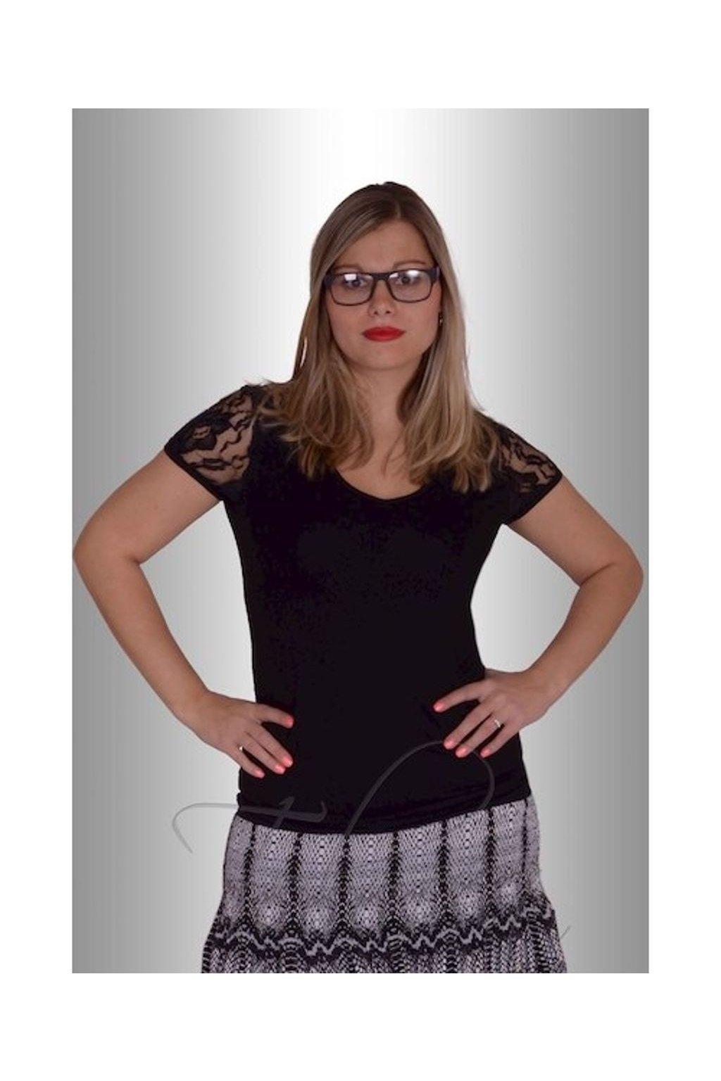Tričko krajka 6615 (Velikost 38, Barva Černá)