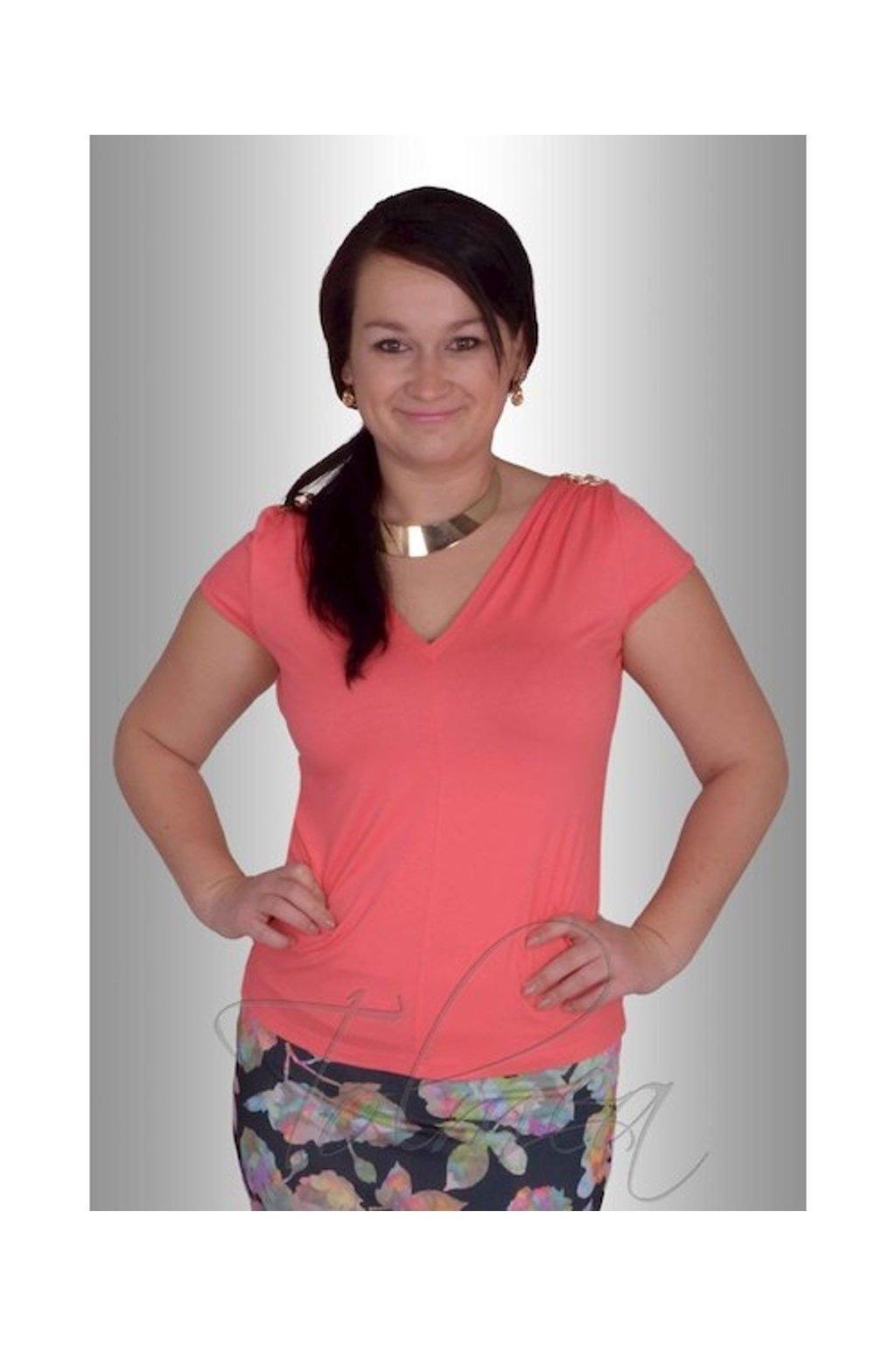 Tričko řasená ramena 6515 (Velikost 38, Barva Černá)