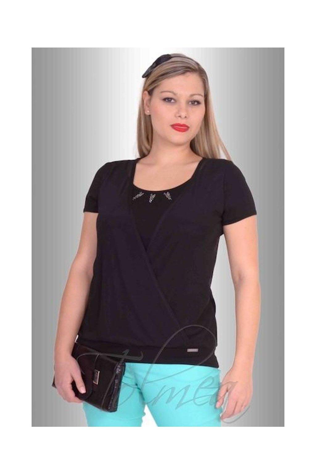 Tričko překřížená přednice šifon 4816 (Velikost 36, Barva Černá)