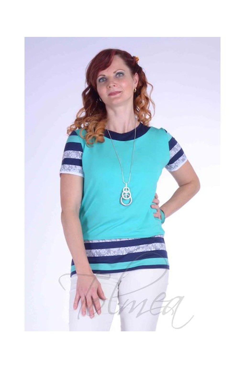 Tričko proužky 2118 (Velikost 36, Barva Tyrkysová)
