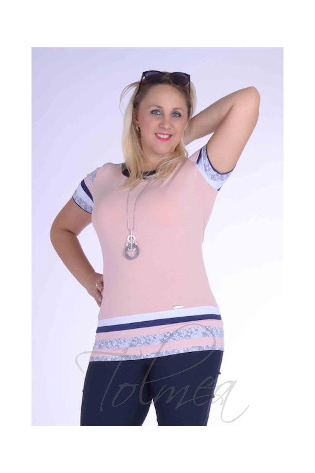Tričko proužky 2118 (Velikost 36, Barva Růžová)