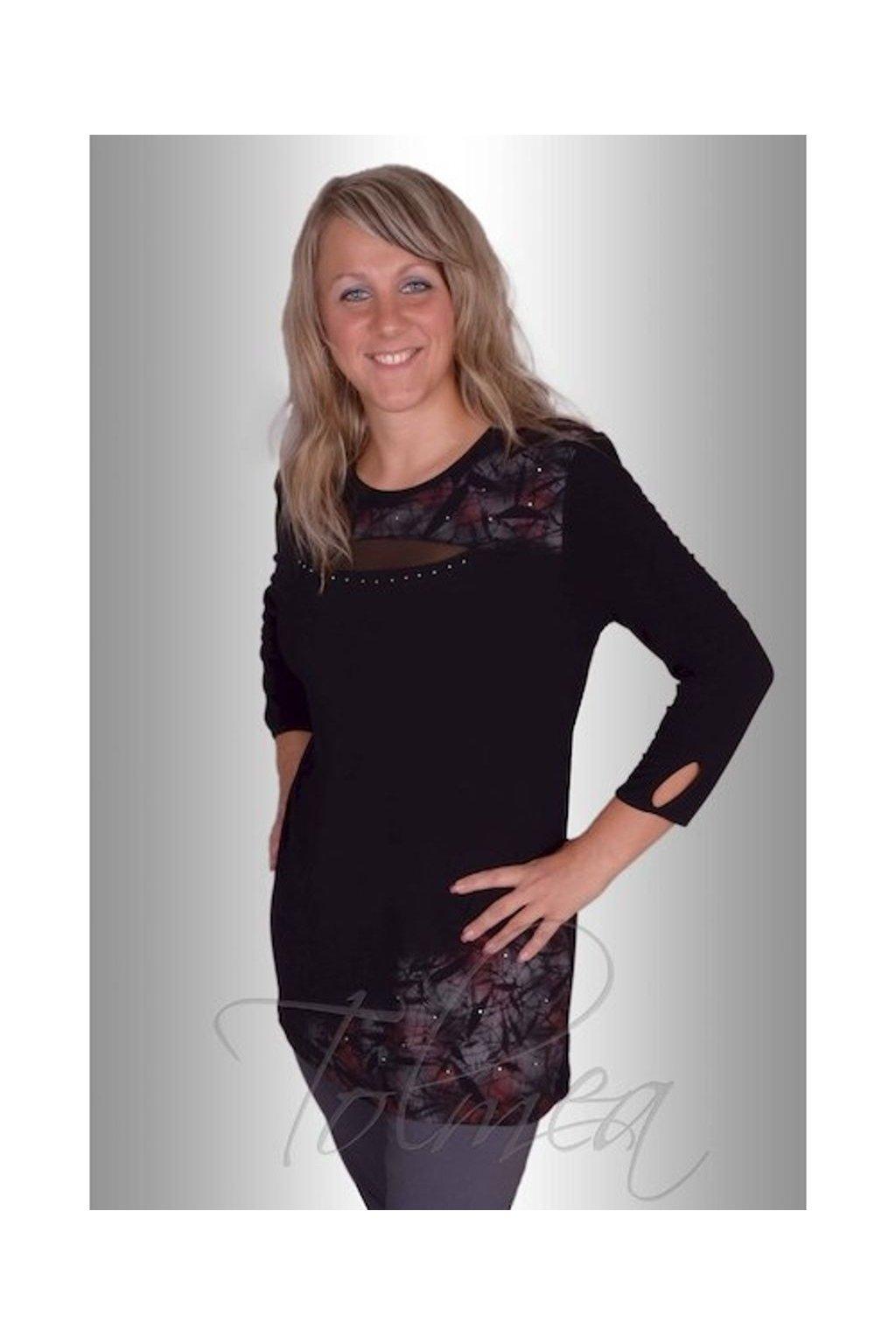 Tunika střik slza šifon (Velikost 38, Barva Černá)